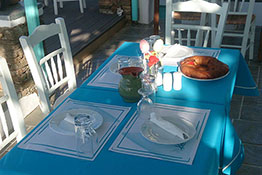 The serving area of the breakfast at Kampos Home
